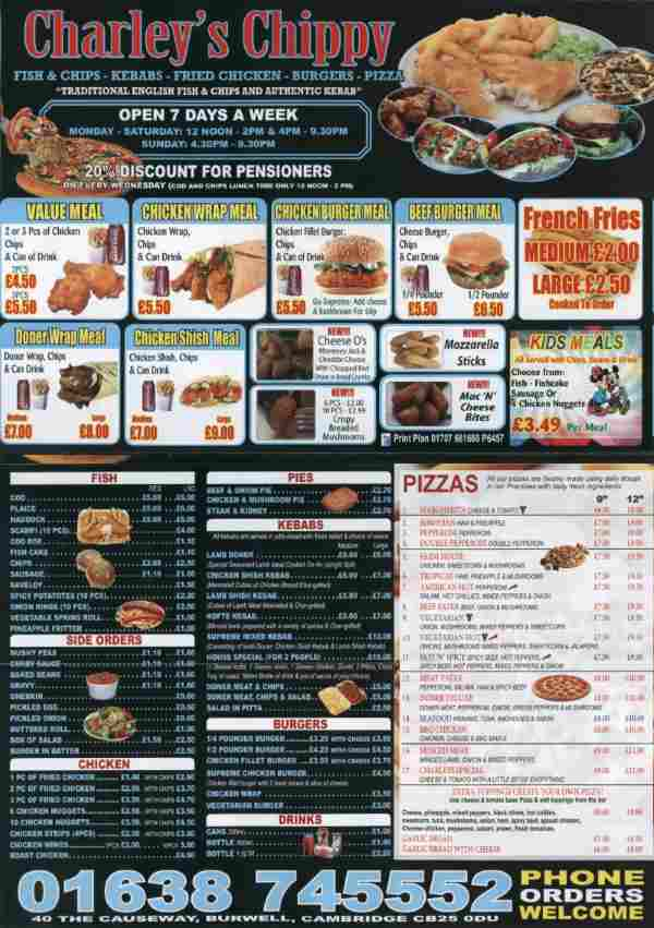 Charleys Chippy Menu