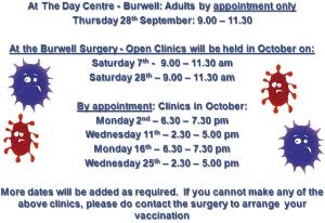 Burwell Surgery Flu Clinic Dates